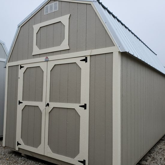 10x16 Lofted Barn Shed in Pecan Paint Front