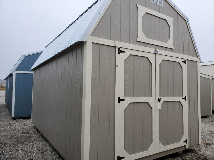 10x16 Lofted Barn Shed in Pecan Paint Front Angle