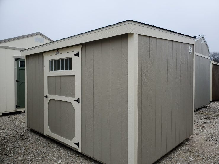 8x12 Metro Shed in Pecan Paint Front