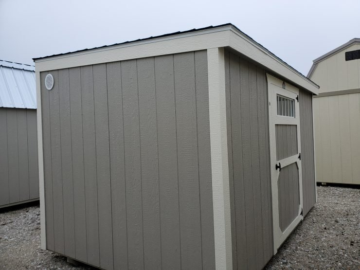 8x12 Metro Shed in Pecan Paint Front Angle