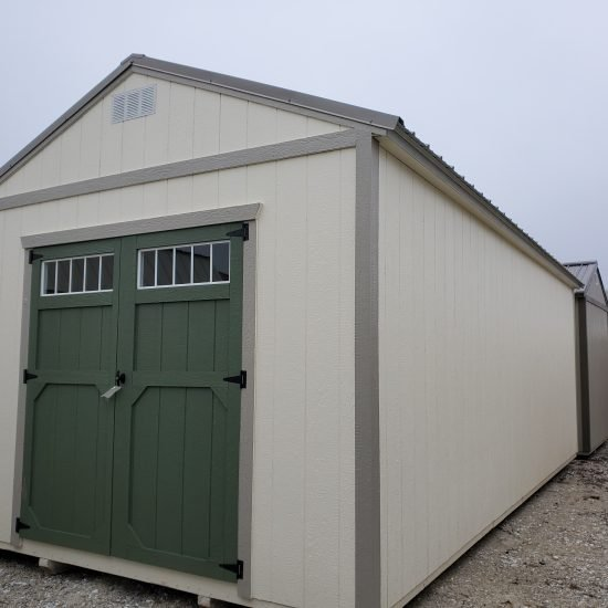 12x24 Utility Garden Shed in Cotton Paint Front