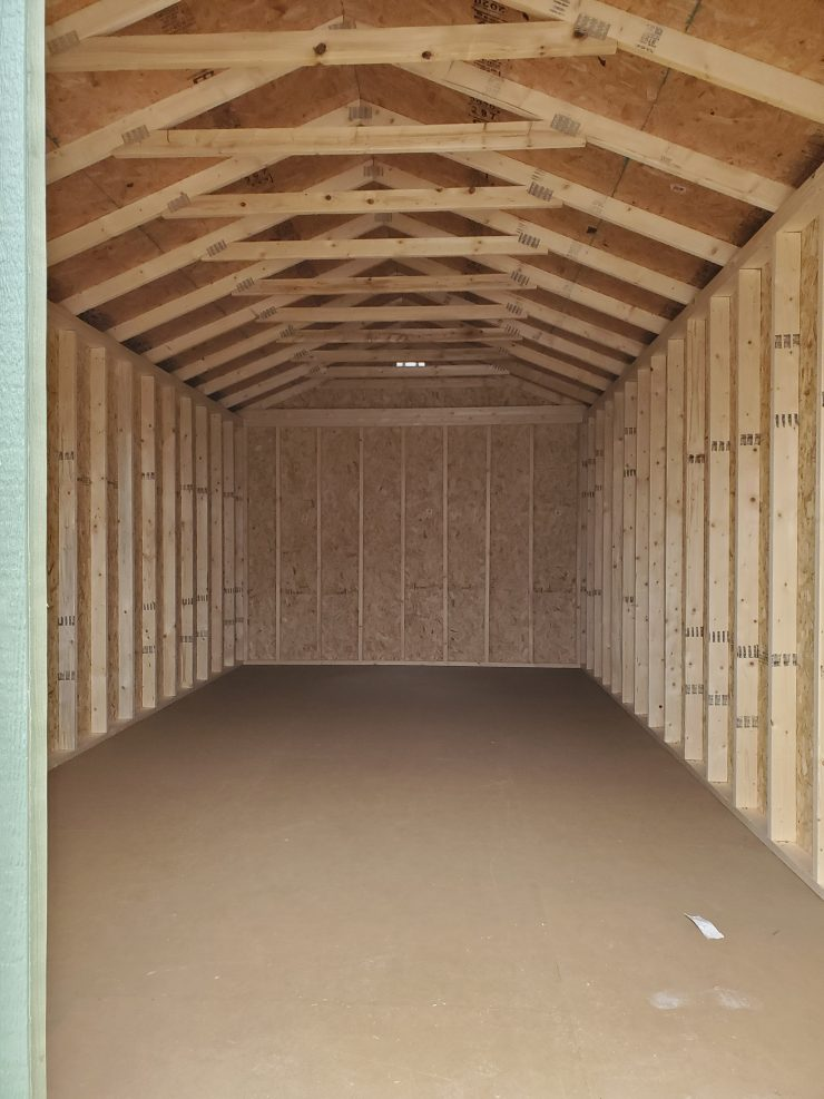12x24 Utility Garden Shed in Cotton Paint Inside