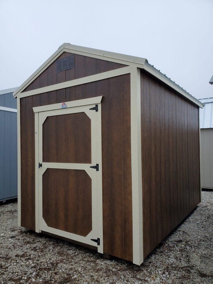 8x12 Utility Garden Shed in Chestnut Urethane Front