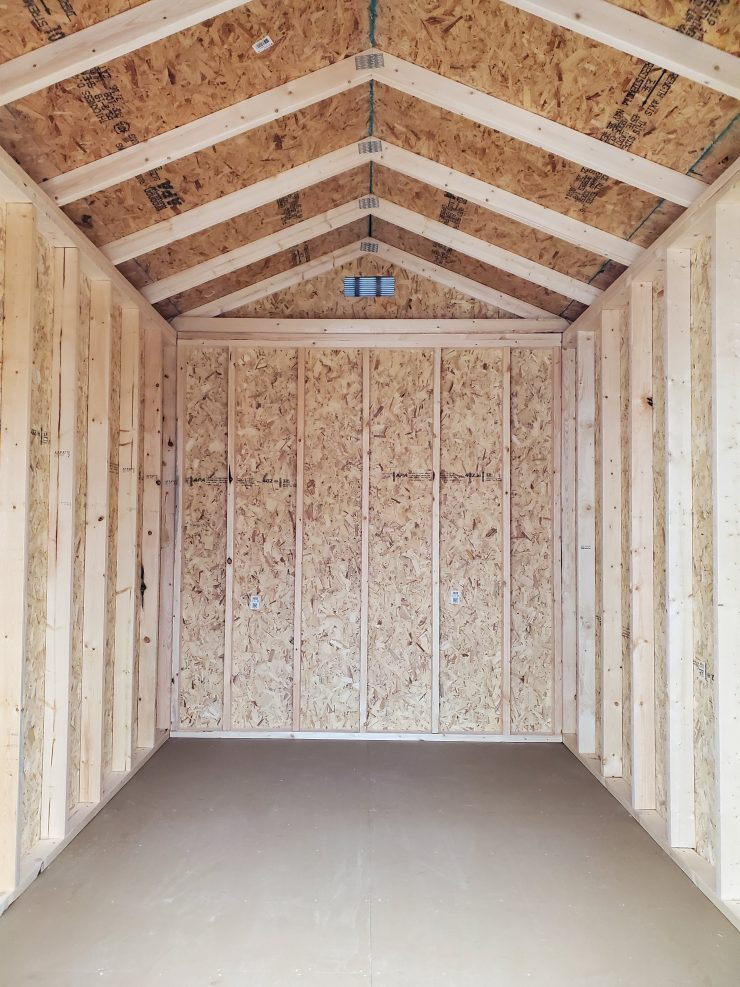 8x12 Utility Garden Shed in Chestnut Urethane Inside