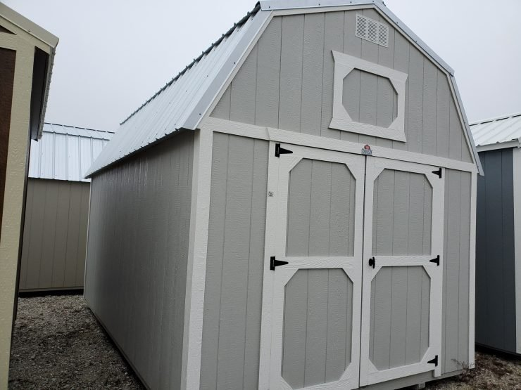 10x16 Lofted Barn Shed in Mushroom Paint Front Angle