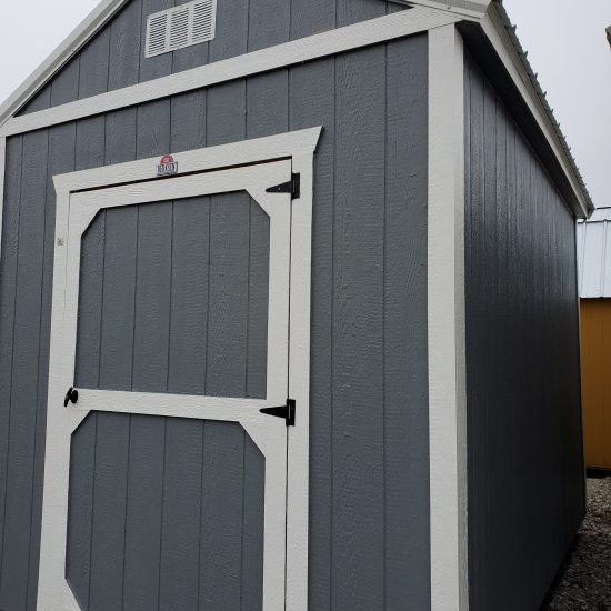 8x12 Utility Garden Shed in Dark Gray Paint Front