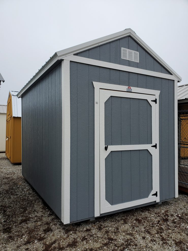 8x12 Utility Garden Shed in Dark Gray Paint Front Angle