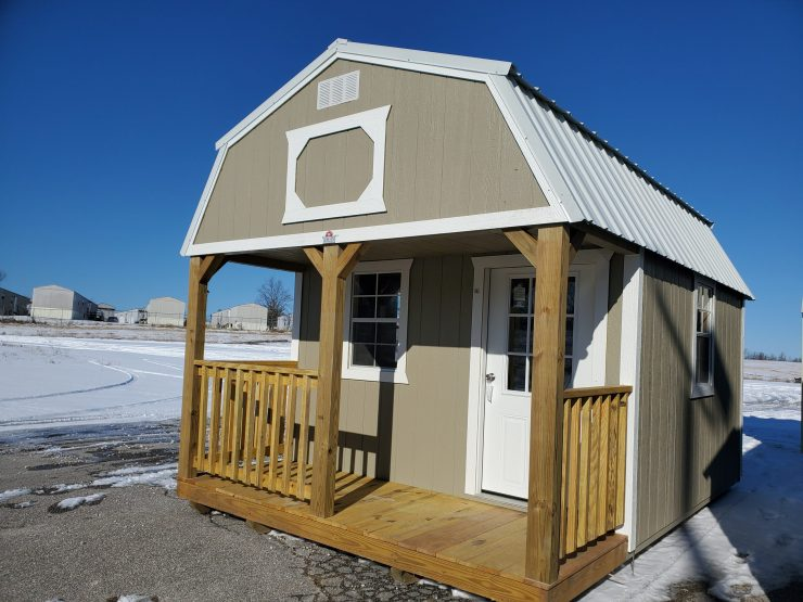12x16 Lofted Barn Cabin in Taupe Paint