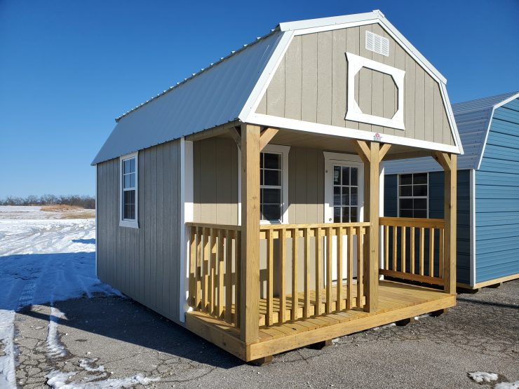 12x16 Lofted Barn Cabin in Taupe Paint Front Corner