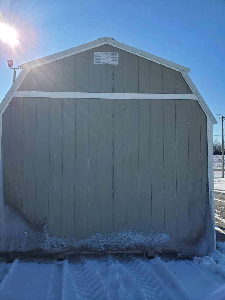 12x16 Lofted Barn Cabin in Taupe Paint Back