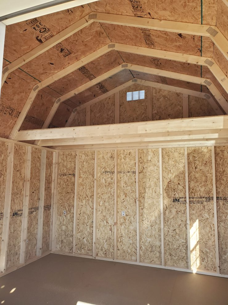 12x16 Lofted Barn Cabin in Taupe Paint Inside