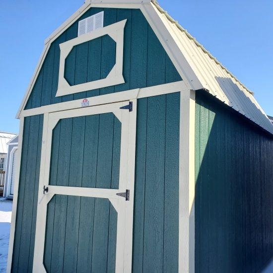 8x12 Lofted Barn in Hunter Green Paint