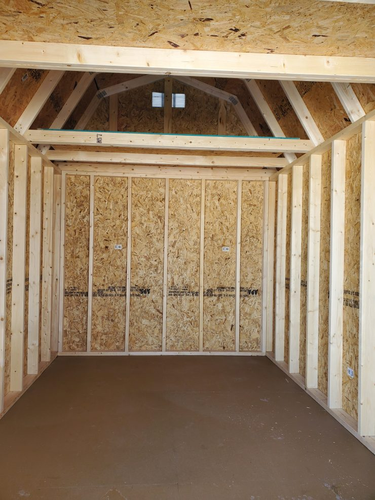 8x12 Lofted Barn Shed in Almond Paint with Taupe Trim Loft