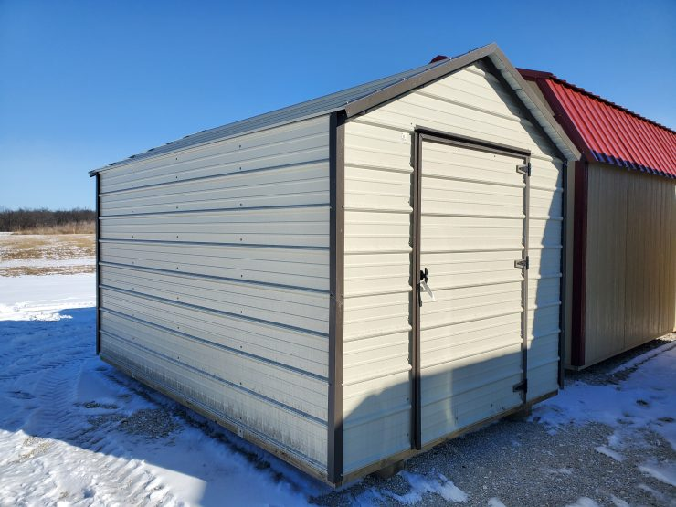 8x12 EMUT Economy Metal Utility Shed Front Angle