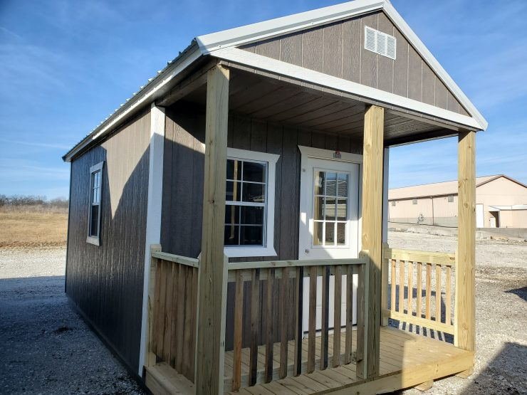 10x20 Cabin or Tiny Home in Driftwood Urethane Front Corner