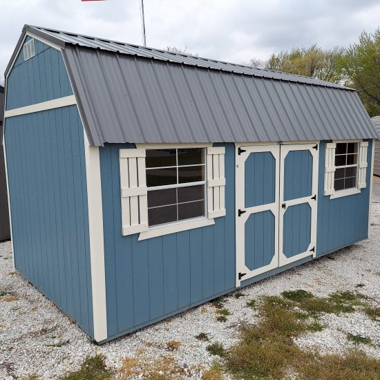 10x20 Side Lofted Barn with Windows in Blue Paint