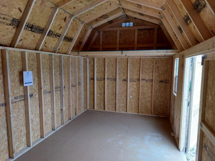 10x20 Side Lofted Barn with Windows in Driftwood Urethane Inside Right