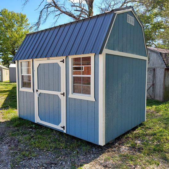 8x12 Side Lofted Barn in Blue Paint