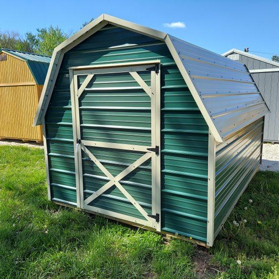 8x12 Standard Barn Shed in Hunter Green Metal