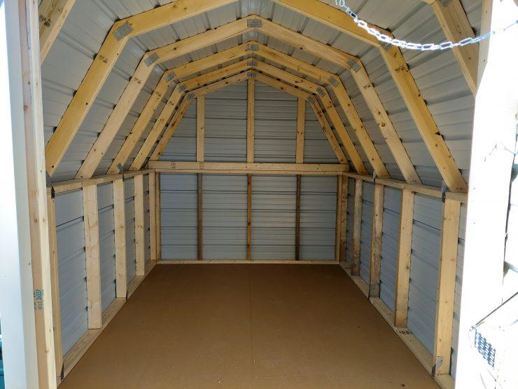 8x12 Standard Barn Shed in Alamo White Metal Inside