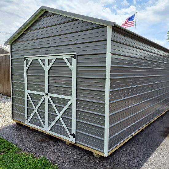12x20 Utility Shed in Charcoal Metal