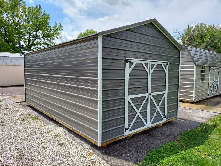 12x20 Utility Shed in Charcoal Metal Front