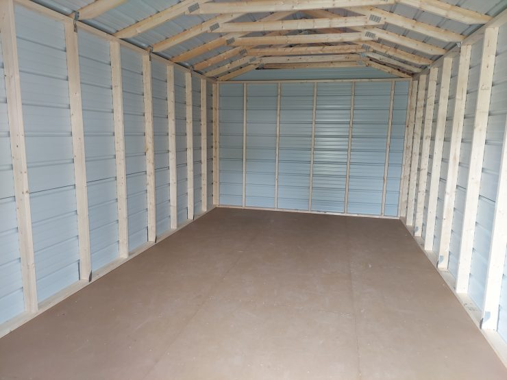 12x20 Utility Shed in Charcoal Metal Inside