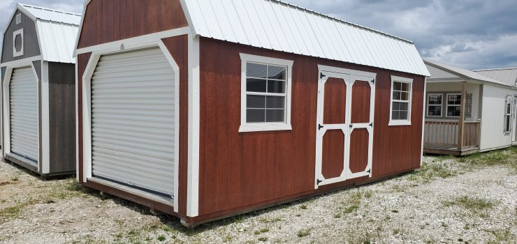 12x24 Side Lofted Barn Shed in Mahogany Urethane