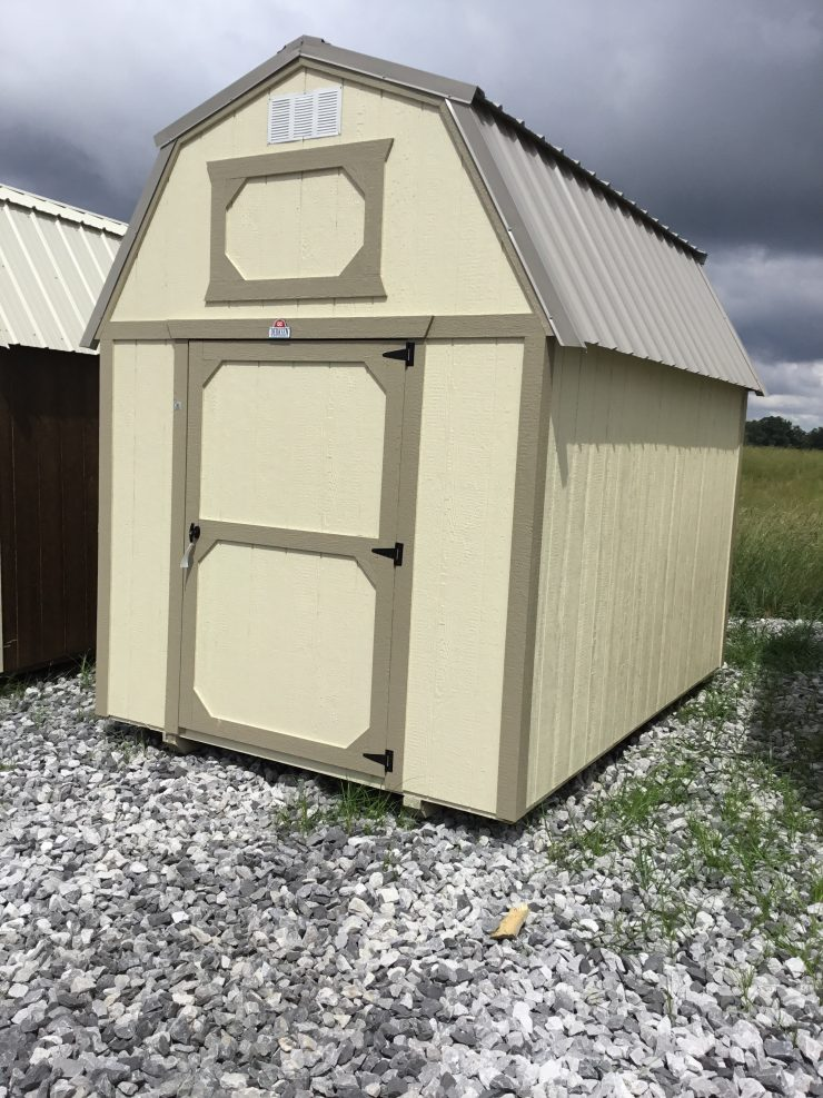 8x12 Lofted Barn Shed in Almond Paint with Taupe Trim