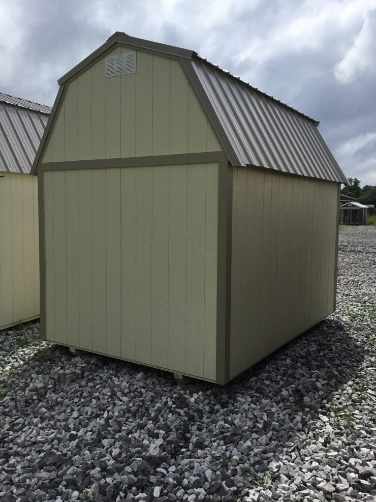 8x12 Lofted Barn Shed in Almond Paint with Taupe Trim back