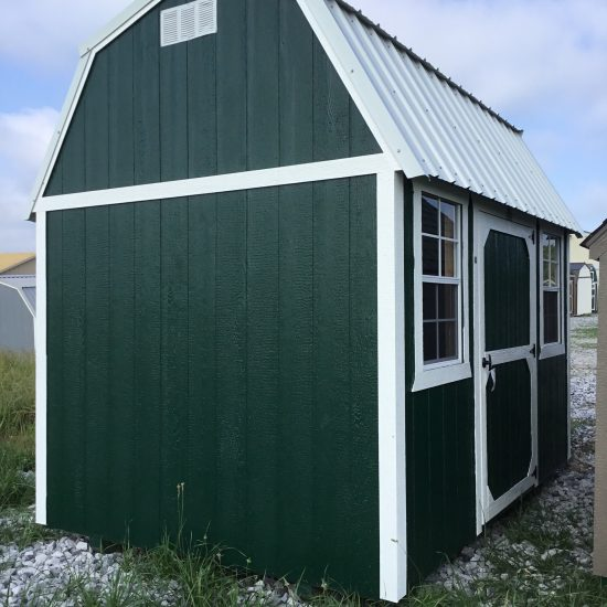 8x12 Side Lofted Barn in Hunter Green Paint