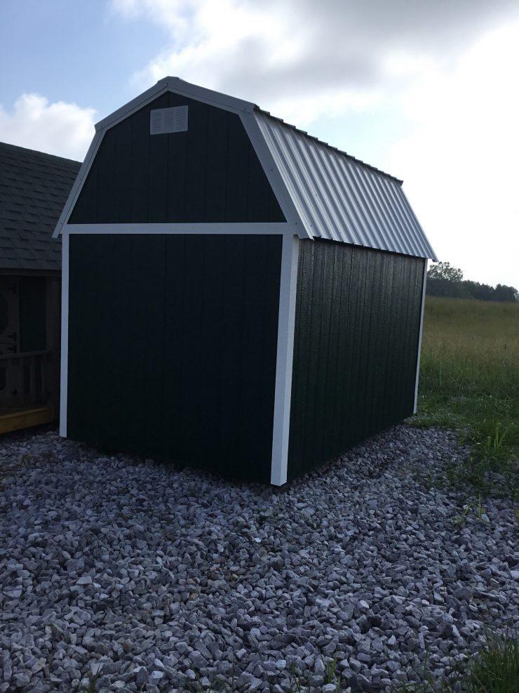 8x12 Side Lofted Barn in Hunter Green Paint Back