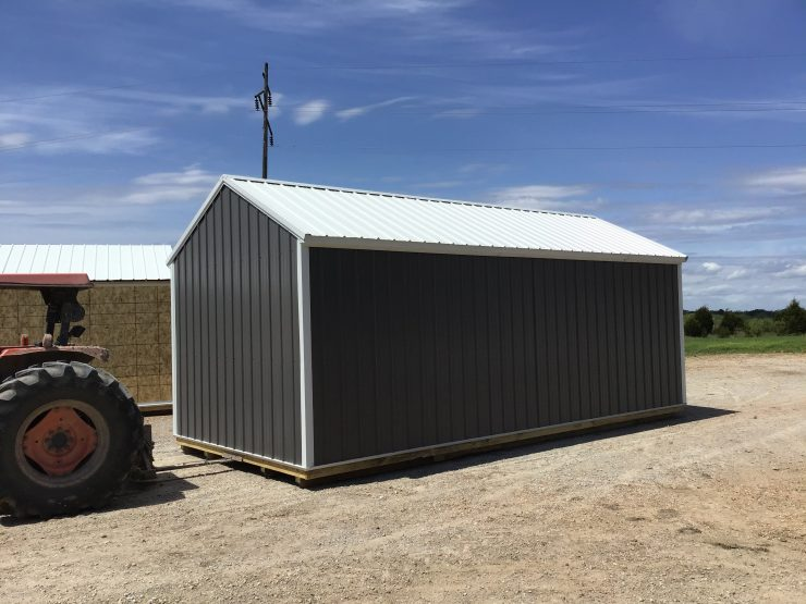 12x24 Portable Garage in Charcoal Metal Back