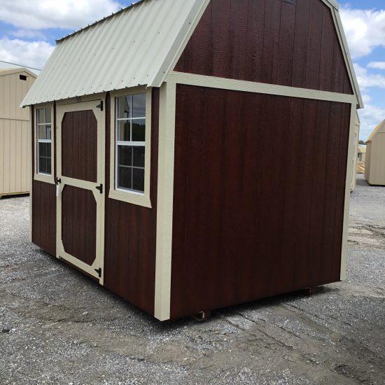 8x12 Side Lofted Barn in Mahogany Urethane