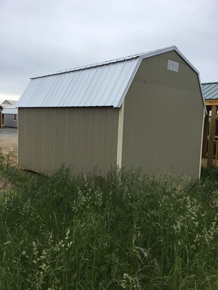 10x16 Lofted Barn Best Value Wood in Taupe Paint Back