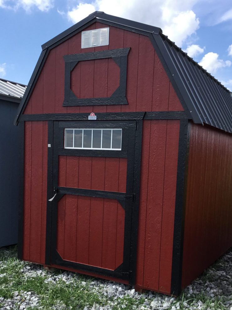 8x12 Lofted Barn Shed in Barn Red