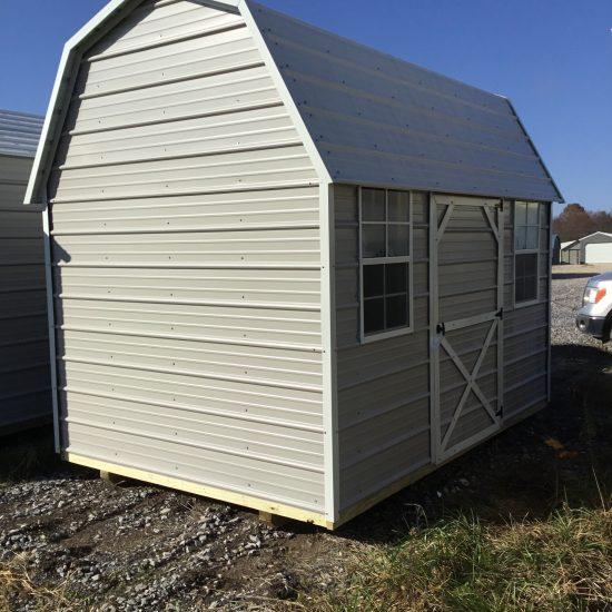 8x12 Side Lofted Barn in Ash Gray Metal