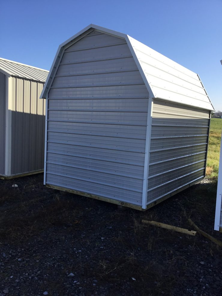 8x12 Side Lofted Barn in Ash Gray Metal Back