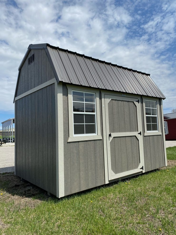 8x12 Side Lofted Barn Shed in Driftwood Urethane Front