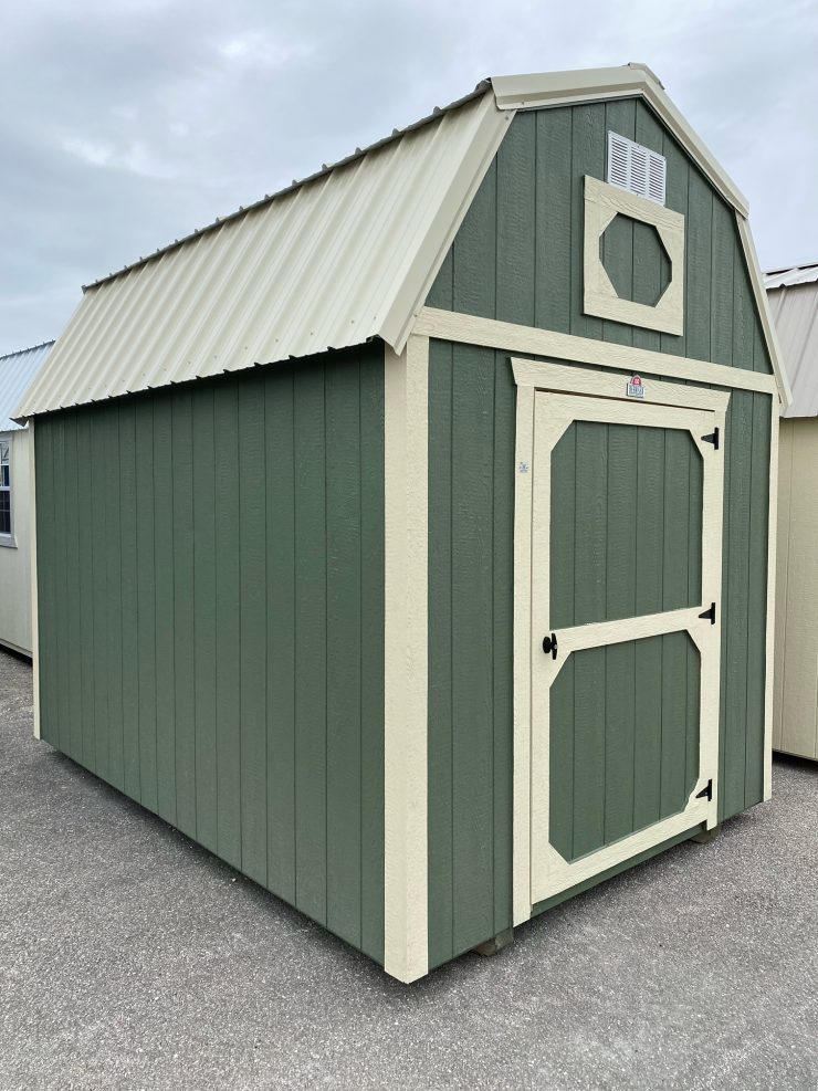 8x12 Lofted Barn in Pequea Green Paint Front
