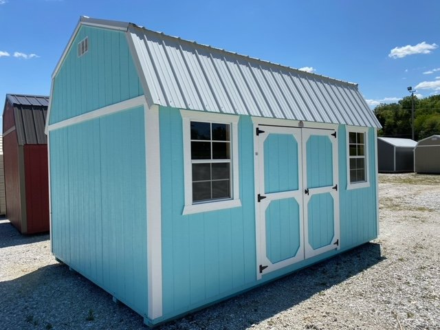 12x16 Side Lofted Barn Shed in Bora Bora Shore Paint front