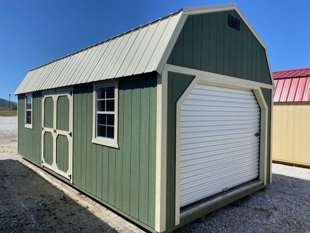 12x24 Side Lofted Barn Shed in Pequea Green Paint