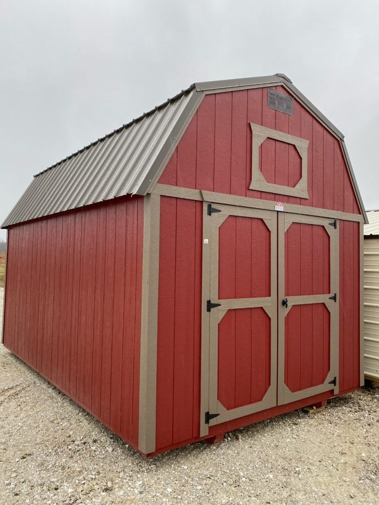 10x16 Lofted Barn Shed in Barn Red Paint Front