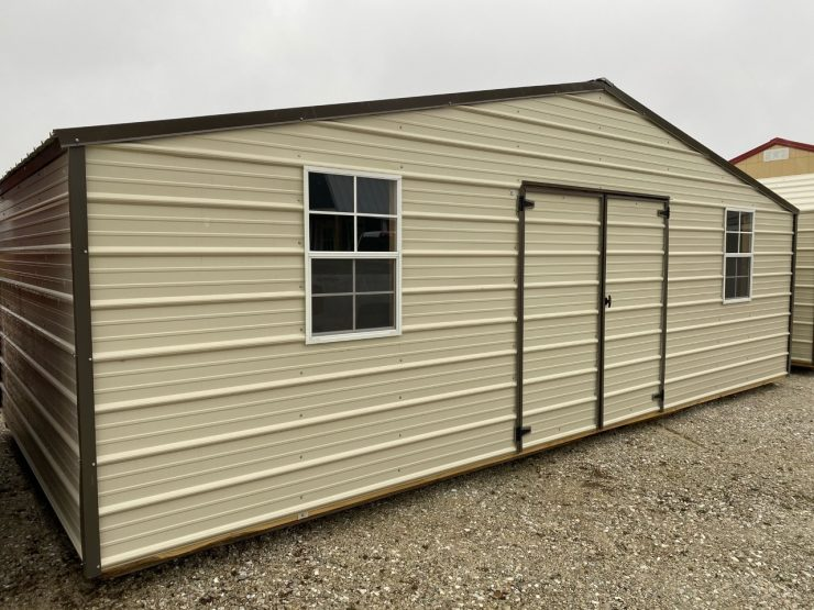 12x24 Side EMUT Economy Metal Utility Shed Front