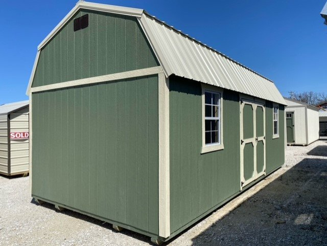 12x24 Side Lofted Barn Shed in Pequea Green Paint Front