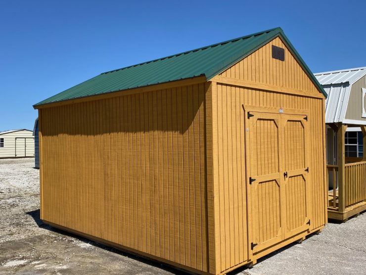 12x16 Utility Garden Shed in Cedar Stain Front