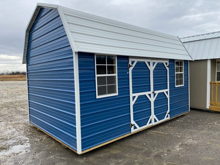 10x16 Side Lofted Barn Shed in Gallery Blue Metal Front