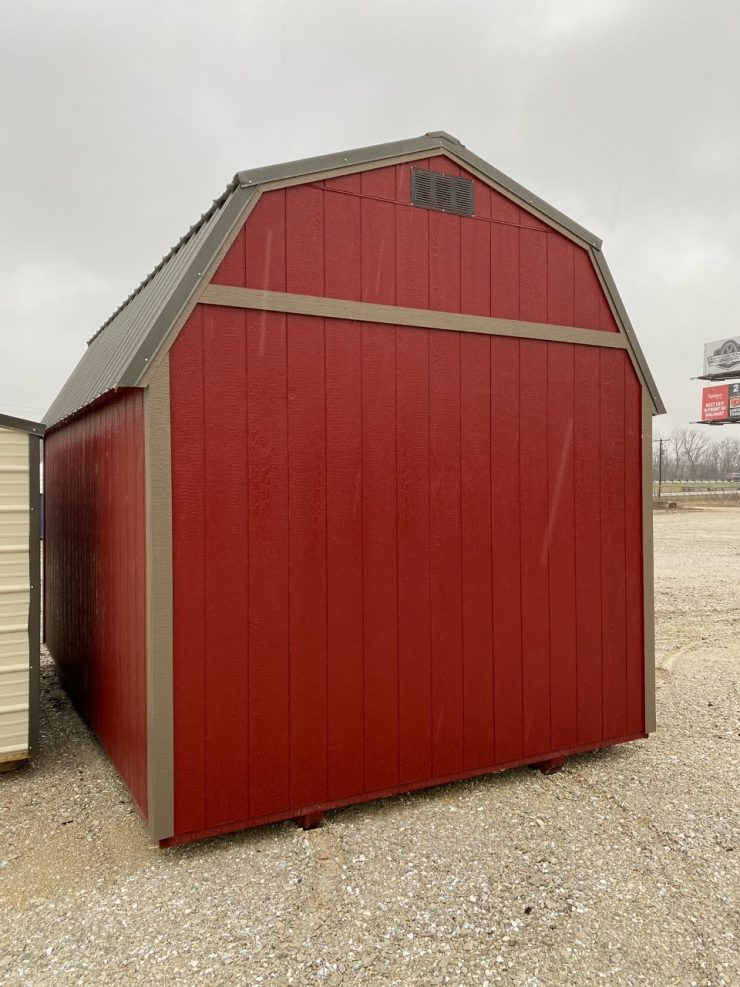 10x16 Lofted Barn Shed in Barn Red Paint Back Angle
