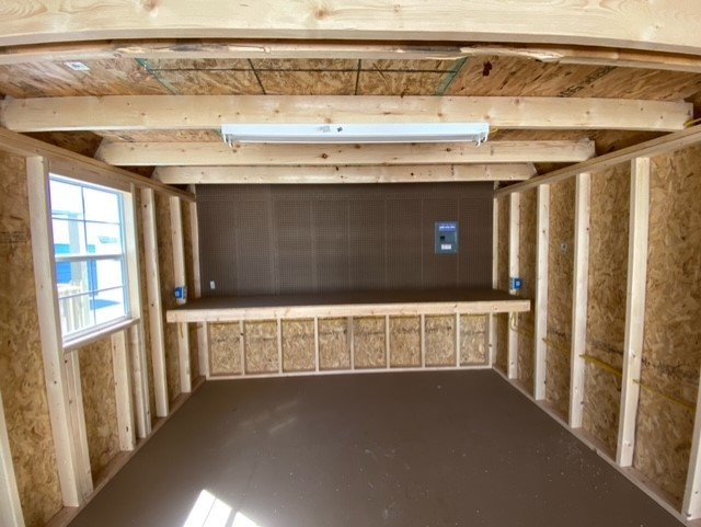 12x24 Side Lofted Barn Shed in Pequea Green Paint Inside